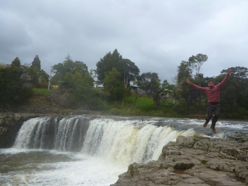 Jumping for Joy at Haruru Falls