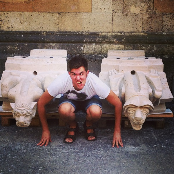 Chilling out with the new gargoyles next to Zagreb Cathedral in the back...