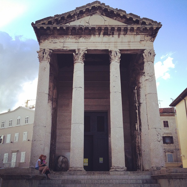 Temple of Augustus - the only visible remnant from Roman Times on the Forum Square