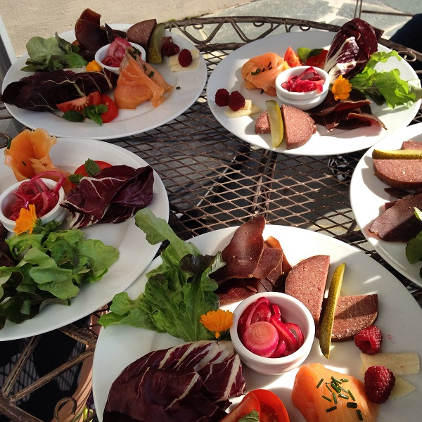 24. Locally prepared and delicious food including meats and homegrown veg.