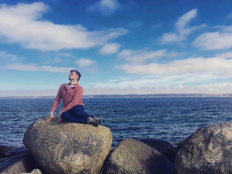 Handsome Travel Blogger at Helsingor, Denmark